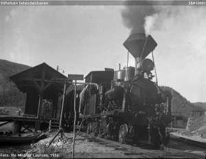 Lokomotivet ved Bygland stasjon. Foto: Setesdalsbanens venner