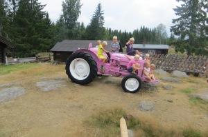 Unger fra Seierstad og Tjølling på traktoren på N-setra 27.7.14