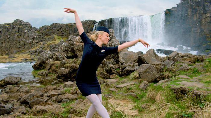 Icelandair cabin crew member Katrín Eyjólfsdóttir rehearses for Stopover Pass